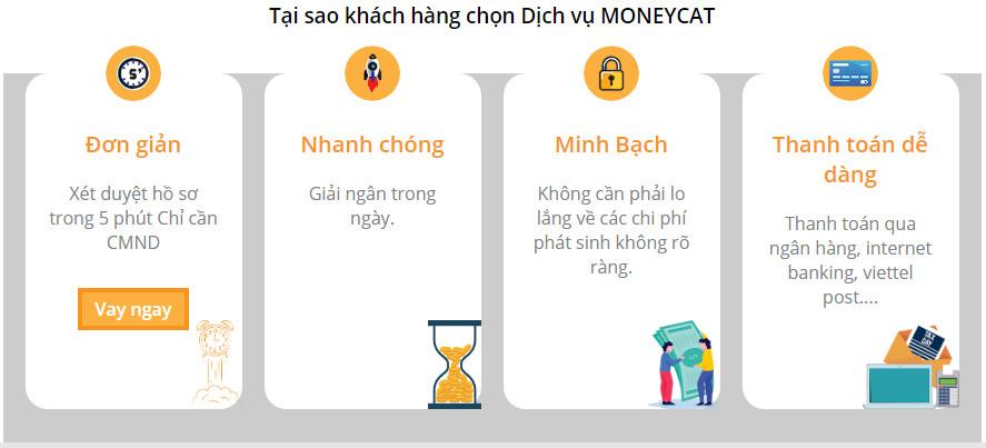 Ưu điểm vay Moneycat